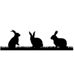 rabbits with grass vector image