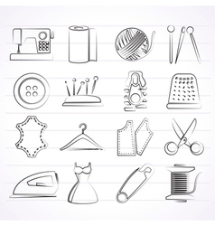 sewing equipment and objects icons vector image vector image