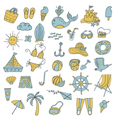summer icons color vector image vector image