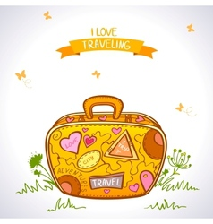 travel suitcase color vector image vector image
