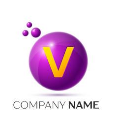 V letter splash purple dots and circle bubble vector