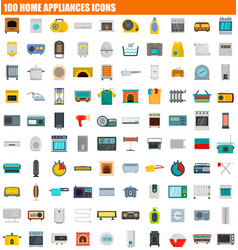 100 home appliances icon set flat style vector image