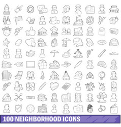100 neighborhood icons set outline style vector