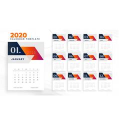 2020 business calendar concept design vector