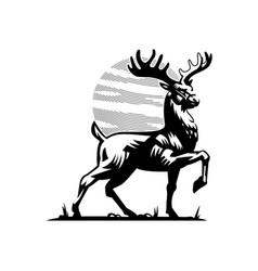 A deer with large horns vector