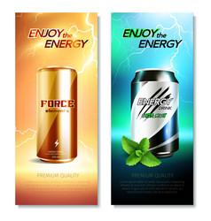 Aluminum cans drinks vertical banner set vector