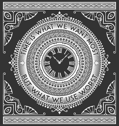 Art deco vintage clock with quotes vector