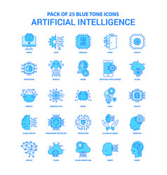 artificial intelligence blue tone icon pack - 25 vector image