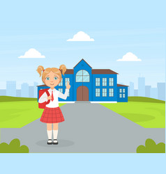 Back to school cute elementary school girl vector