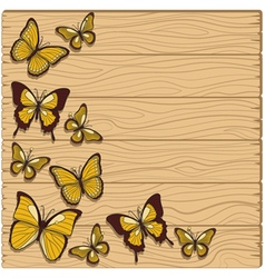 Background with planks butterflies studs vector