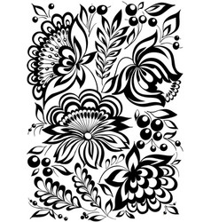 beautiful monochrome black and white flowers and vector image