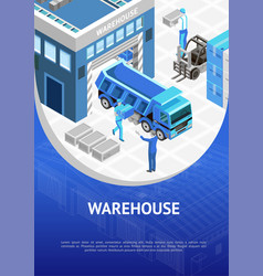 blue warehouse presentation poster vector image