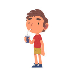 Boy drinking soda drink from paper cup through vector