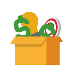 cardboard box with money sign lightbulb and vector image