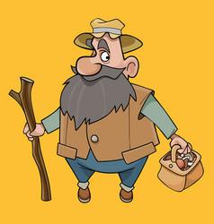 Cartoon bearded man with a basket mushrooms vector