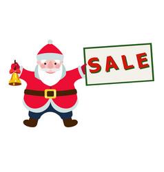 Cartoon santa claus with a sale sign vector