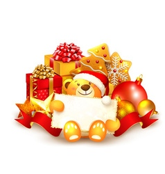 Christmas background with a teddy bear vector image