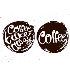Coffee hand draw circle logo with vector