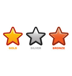 collection gold silver and bronze star medal flat vector image