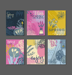Collection of spring cards vector