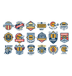 College rugby team logo design set sport retro vector