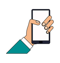 Color image cartoon hand holding smartphone device vector