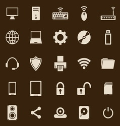 Computer color icons on brown background vector image
