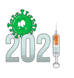 Corona virus covid-19 cartoon with new year 2021 vector