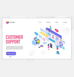 customer support landing page template vector image