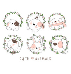 Cute baby animal with flower border cartoon vector