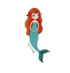 cute cartoon little mermaid siren sea theme vector image