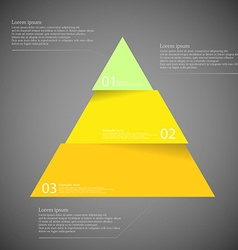 Dark inforgraphic with triangle divided to three vector