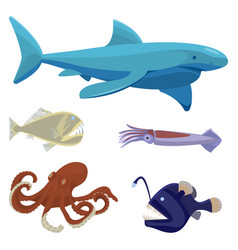 Deep sea dangerous unusual creatures isolated vector