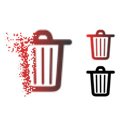 destructed pixelated halftone trash can icon vector image
