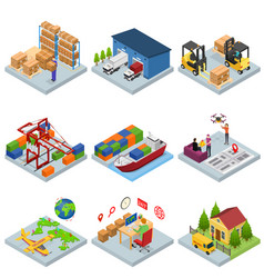 different types warehouse 3d icons set isometric vector image