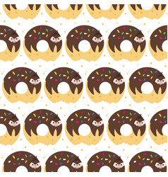 Donut sloth pattern vector