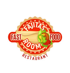Fajitas mexican fast food restaurant icon vector