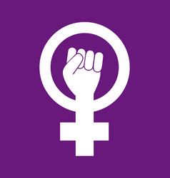 Female woman feminism protest hand icon vector