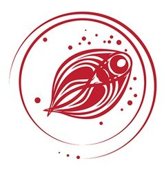 fish stamp vector image