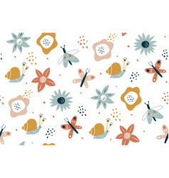 floral seamless pattern with butterflies hand vector image