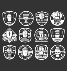 Funeral and cremation columbarium service icons vector