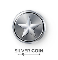 Game silver coin with star realistic vector