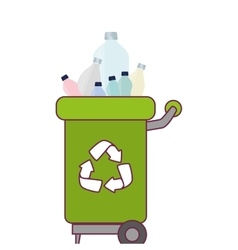 garbage bin with plastic bottles vector image