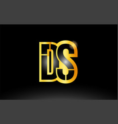 Gold black alphabet letter ds d s logo vector