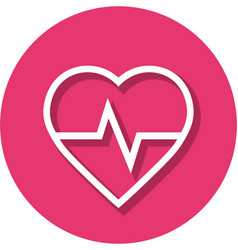 heart rate in circle line icon vector image