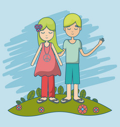 hippie couple cartoon vector image