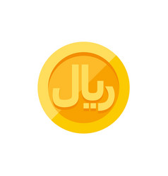 Iranian rial symbol on gold coin flat style vector