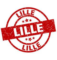 Lille red round grunge stamp vector