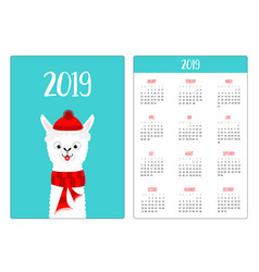 llama alpaca red hat scarf simple pocket calendar vector image