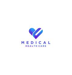 Love shape medical modern logo design minimalist vector
